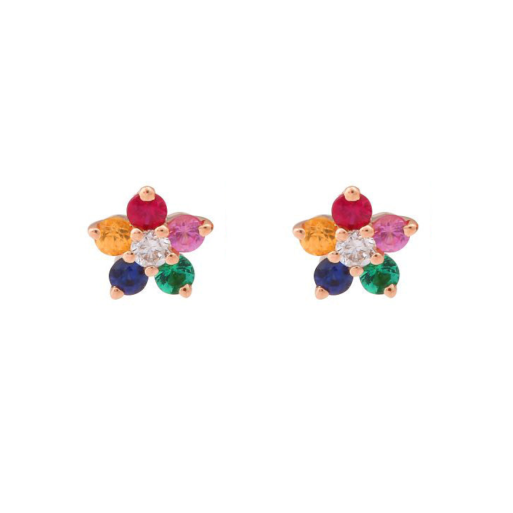 Gold Mini Colorful Flower Stud - 14KT Gold - Monisha Melwani Jewelry