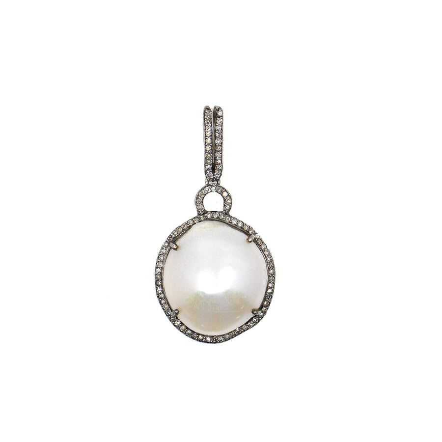 Sterling Silver Freshwater Pearl Diamond Pendant - Monisha Melwani Jewelry