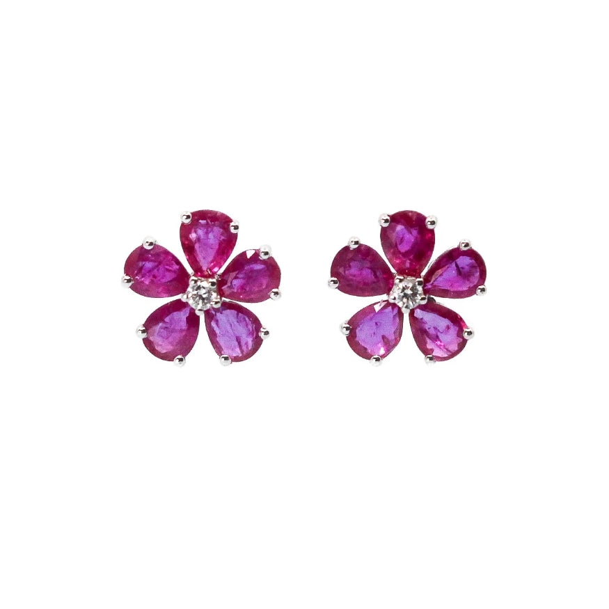 Gold Ruby Flower Earrings - 18KT Gold - Monisha Melwani Jewelry