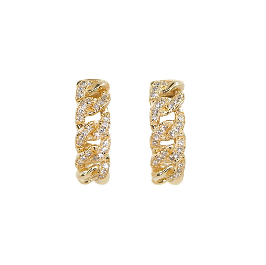 Gold Diamond Cuban Link Hoop Earrings