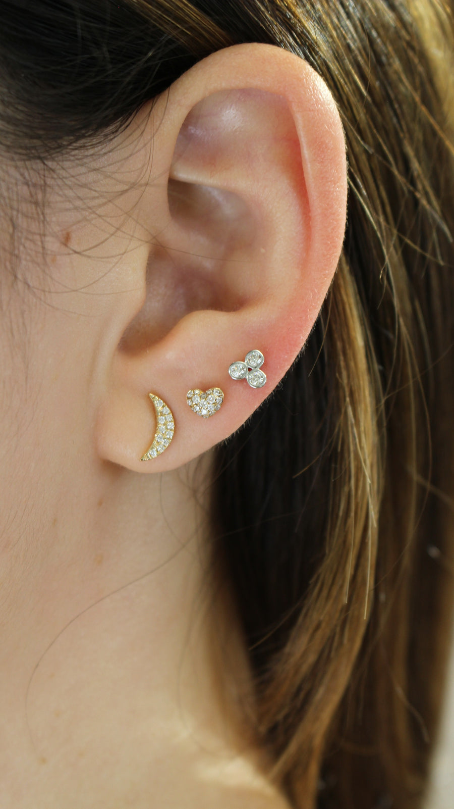 Gold Mini Pave Heart Earrings