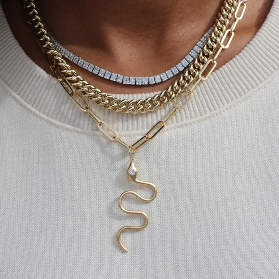 Gold Diamond Snake Pendant