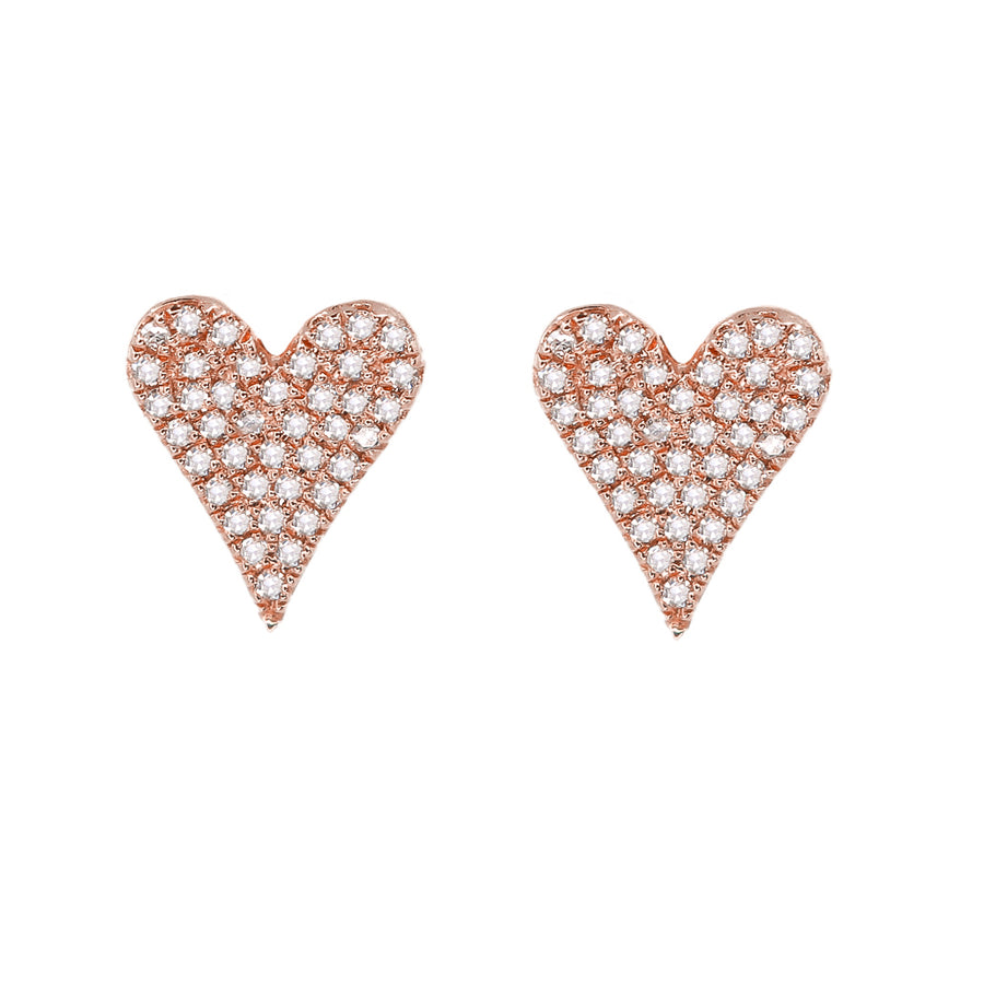 Gold Diamond Pave Heart Earring - 14KT Gold - Monisha Melwani Jewelry