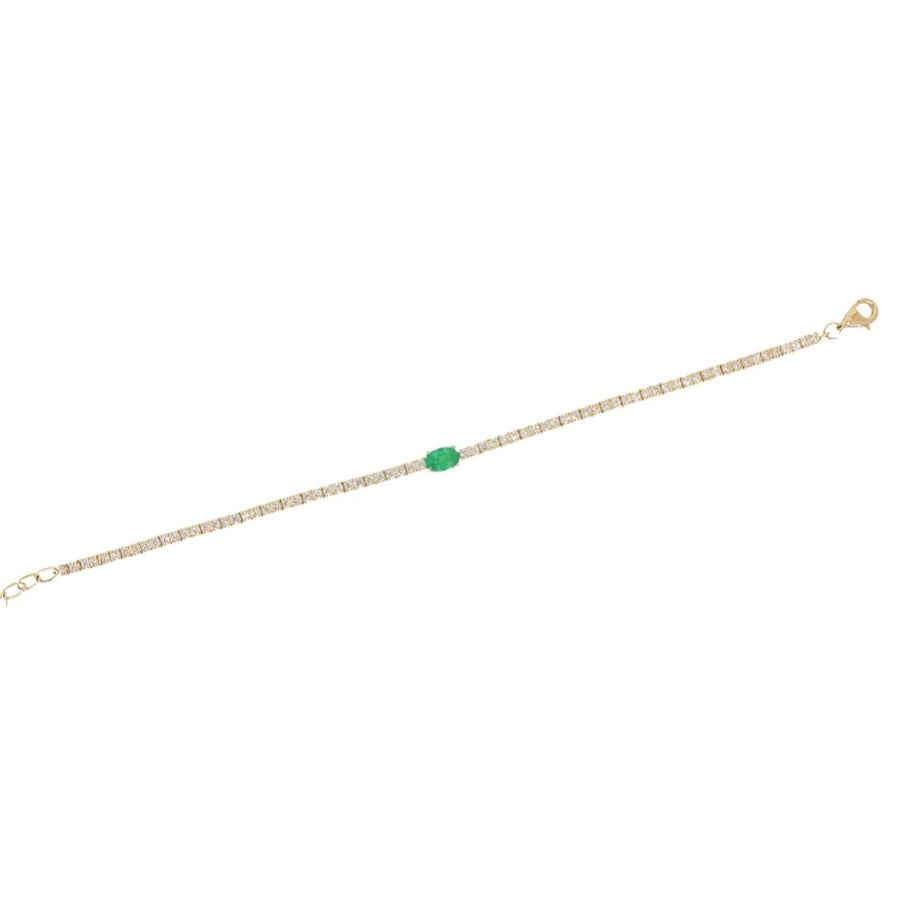 Gold Emerald Diamond Tennis Bracelet - 14KT Gold - Monisha Melwani Jewelry