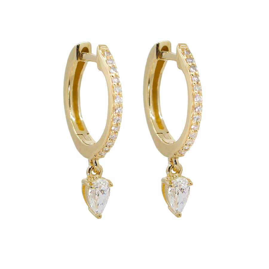 Gold Drop Pear Diamond Hoop Earrings - 14KT Gold - Monisha Melwani Jewelry