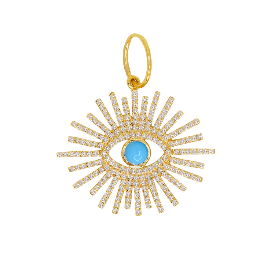 Diamond Gold Turquoise Evil Eye Burst Pendant