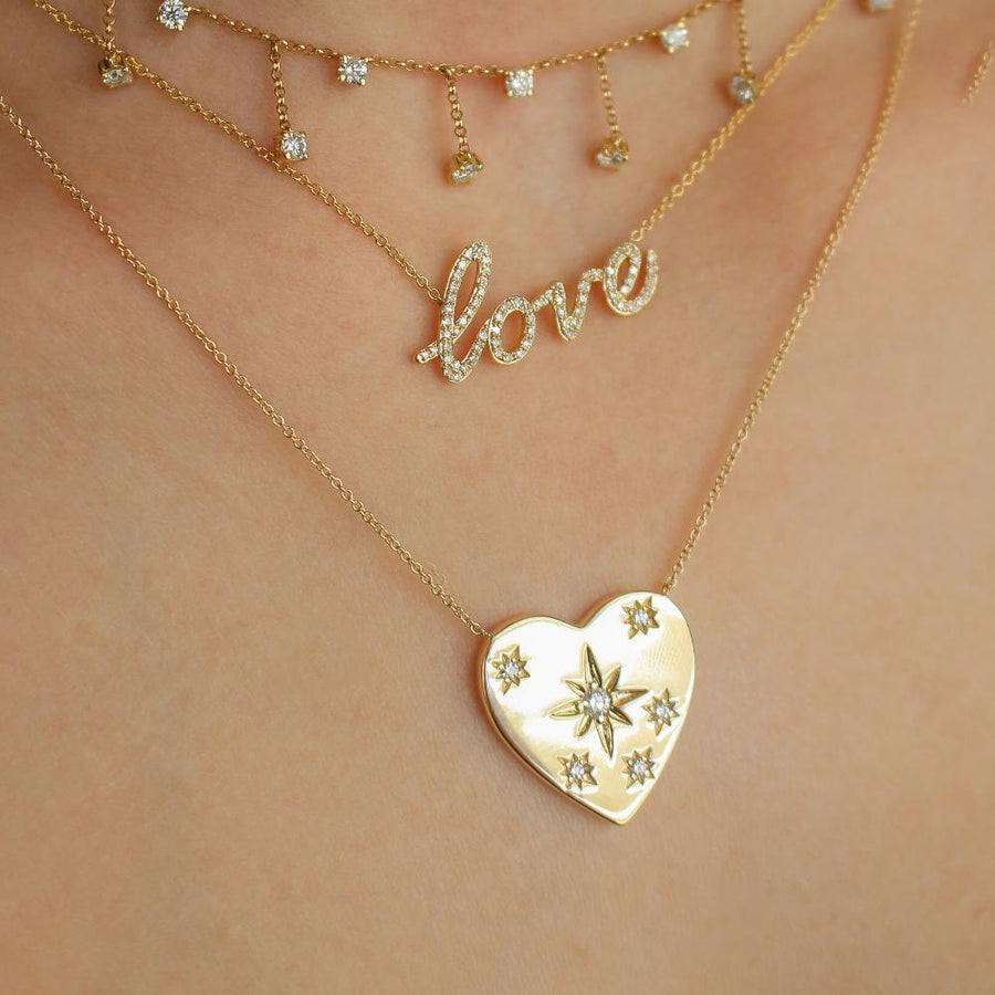Gold Heart Diamond Necklace - 14KT Gold - Monisha Melwani Jewelry