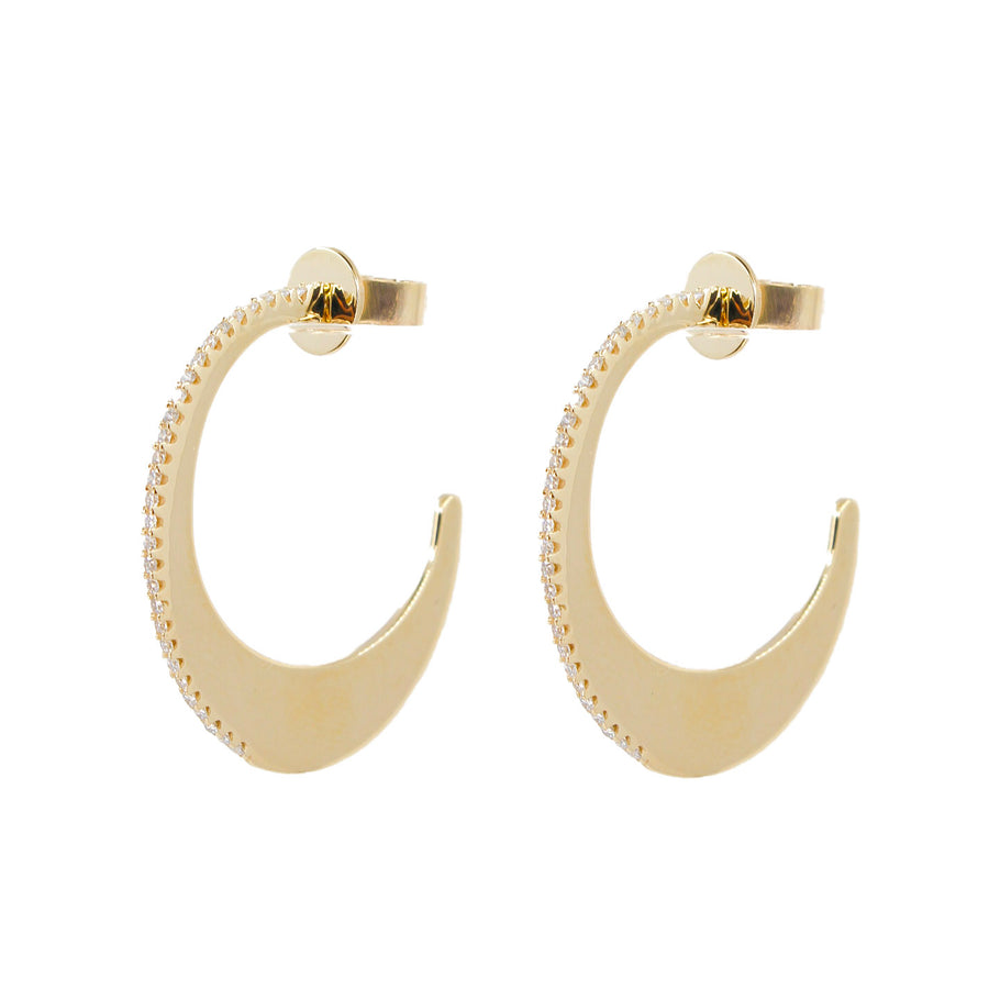 Crescent Gold Diamond Hoops - 14KT Gold - Monisha Melwani Jewelry