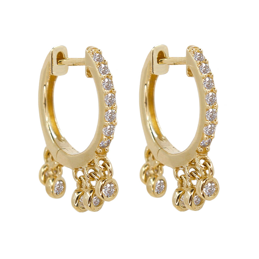 Gold Diamond Mini Shaker Bezel Hoop Earrings - 14KT Gold - Monisha Melwani Jewelry