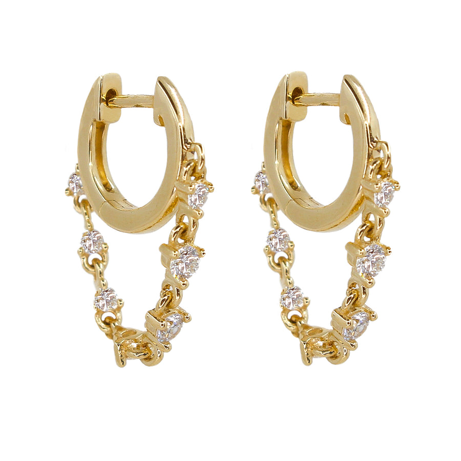 Gold Bezel Diamond Chain Drop Mini Hoop Earring - 14KT Gold - Monisha Melwani Jewelry
