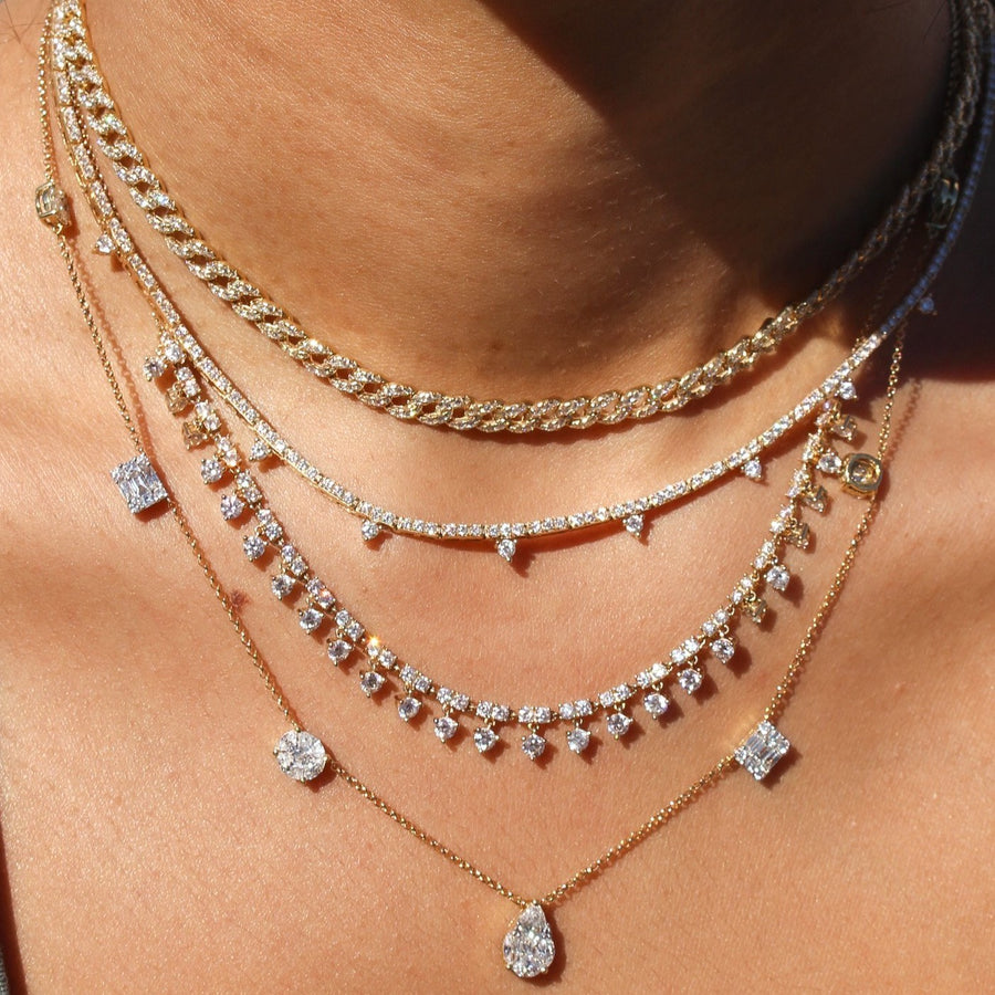 Gold Diamond Round Prong Drop Necklace