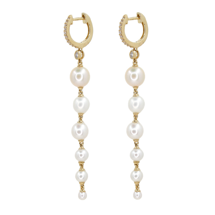 Gold Mother of Pearl Multi Drop Hoop Earring - 14KT Gold - Monisha Melwani Jewelry