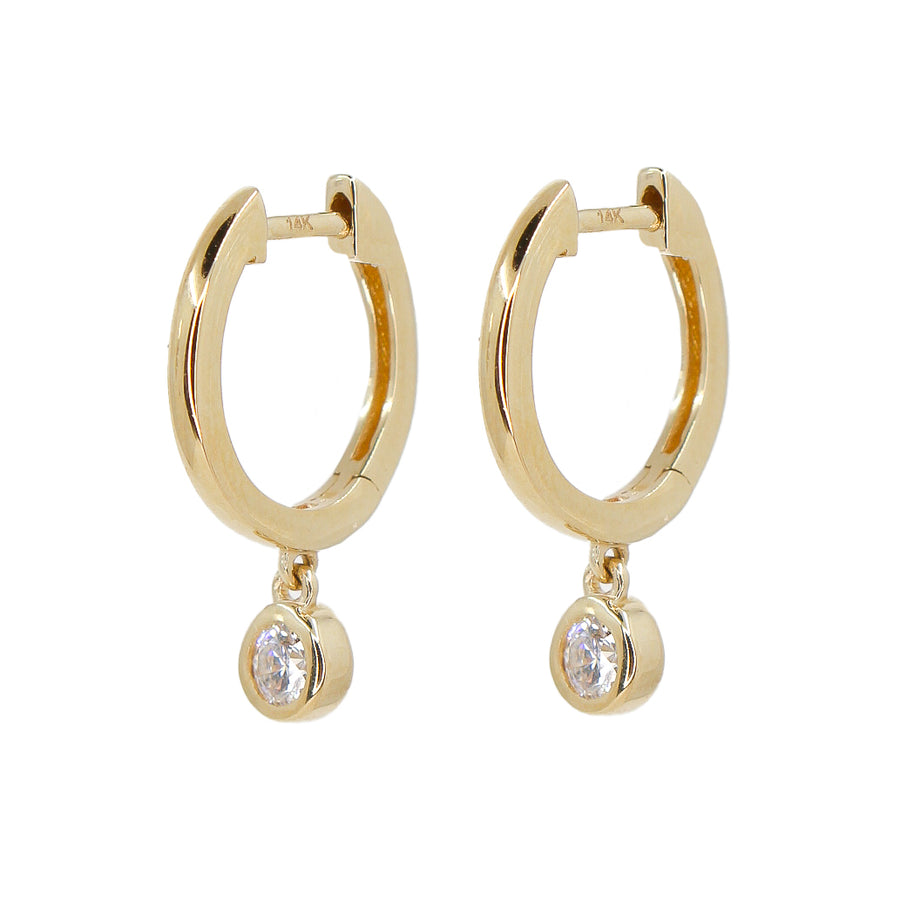 Gold Bezel Hoop Earring - 14KT Gold - Monisha Melwani Jewelry  Edit alt text