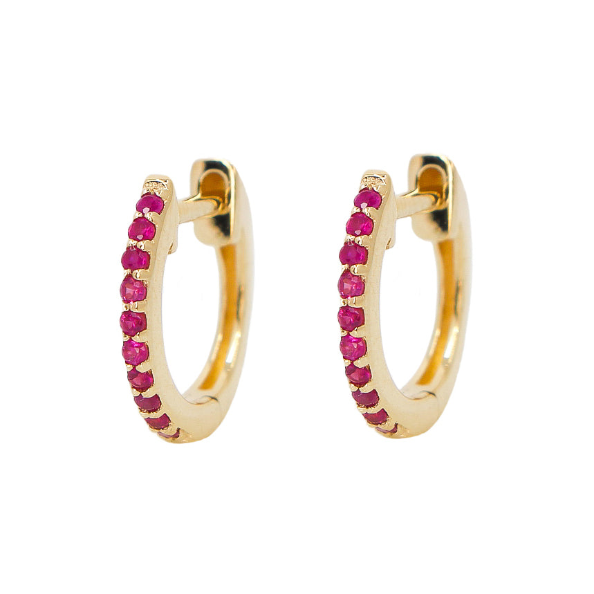 Gold Ruby Hoop Earring - 14KT Gold - Monisha Melwani Jewelry
