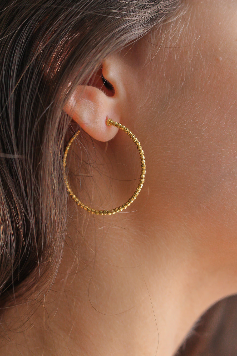 Gold Diamond Cut Hoop Earrings - 14KT Gold - Monisha Melwani Jewelry