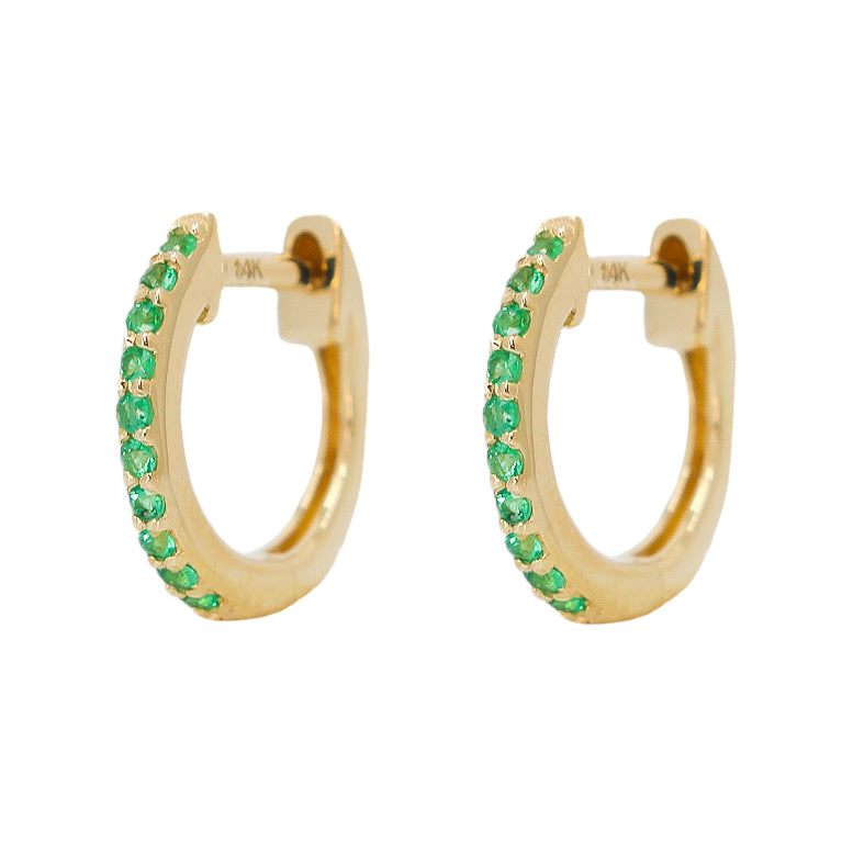 Gold Emerald Hoop Earring - 14KT Gold -Monisha Melwani Jewelry