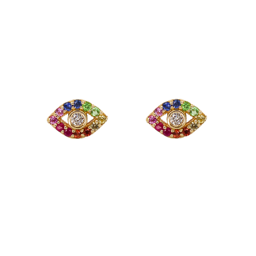 Gold Rainbow Evil Eye Earrings - 14KT Gold - Monisha Melwani Jewelry