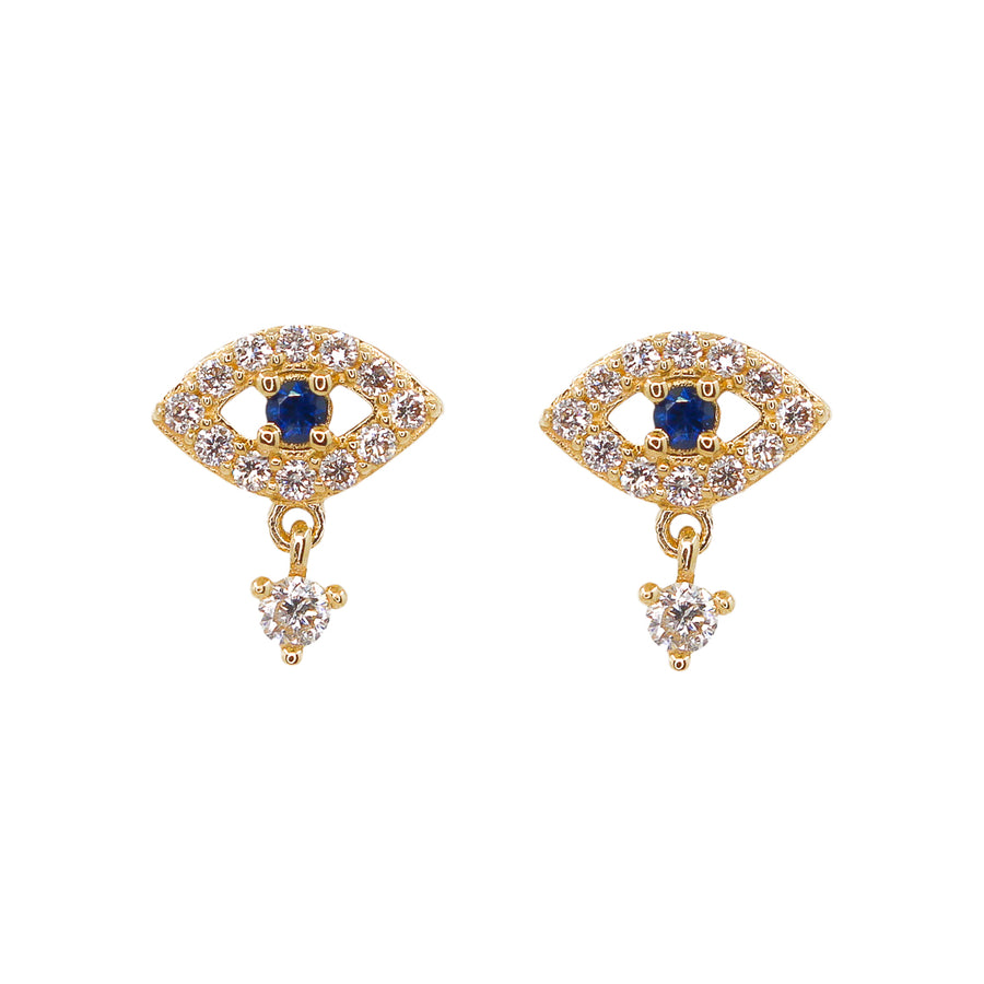 Gold Blue Sapphire Evil Eye Diamond Drop Earrings - 14KT Gold - Monisha Melwani Jewelry