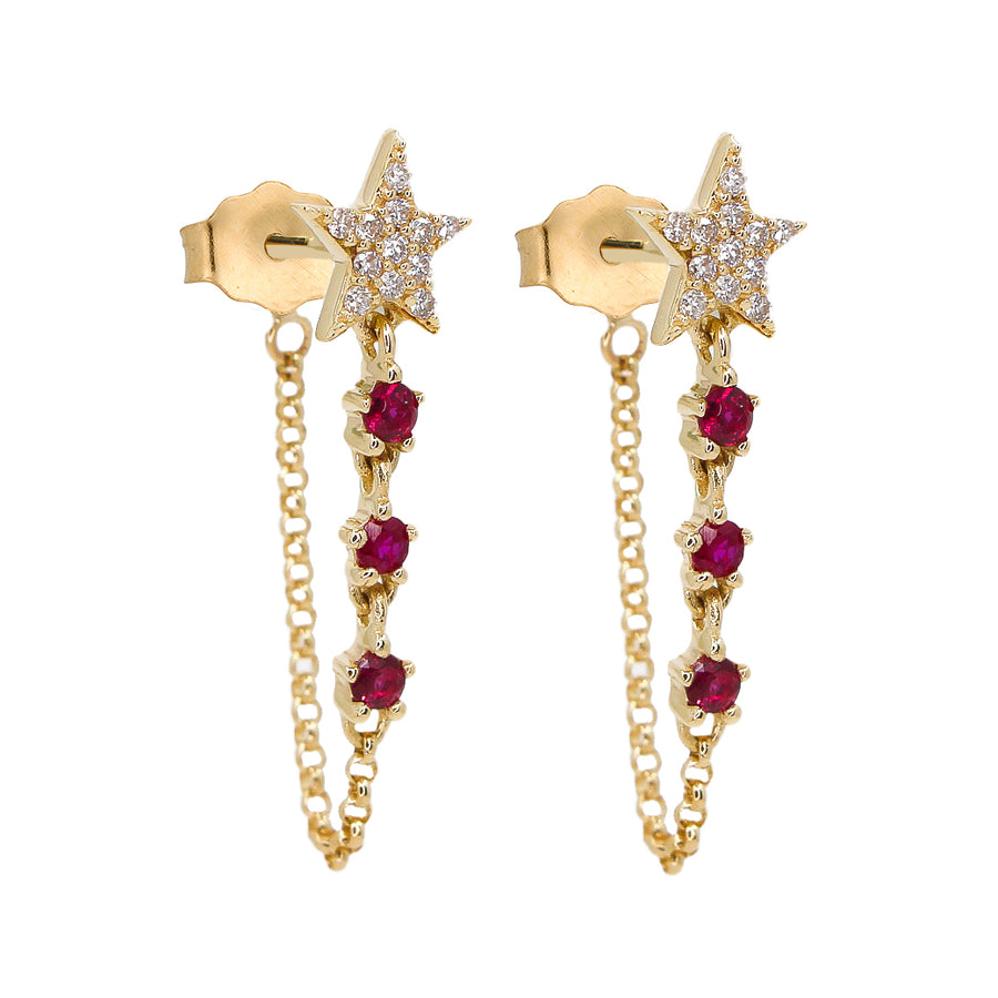Gold Diamond Star Ruby Chain Earrings - 14KT Gold - Monisha Melwani Jewelry