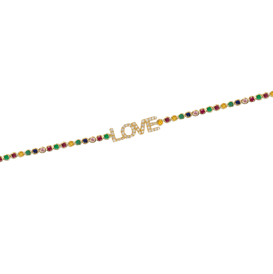 Gold Multi Sapphire Love Bezel Bracelet - 14KT Gold - Monisha Melwani Jewelry