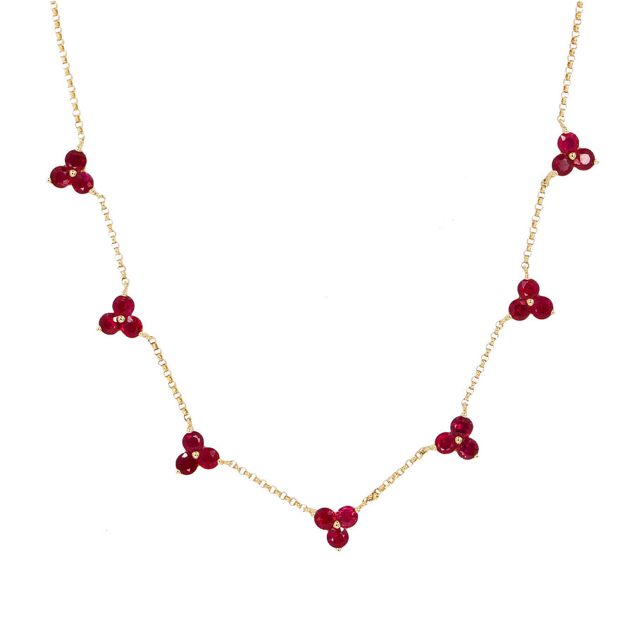 Gold Multi Ruby Trio Necklace - 14KT Gold - Monisha Melwani Jewelry