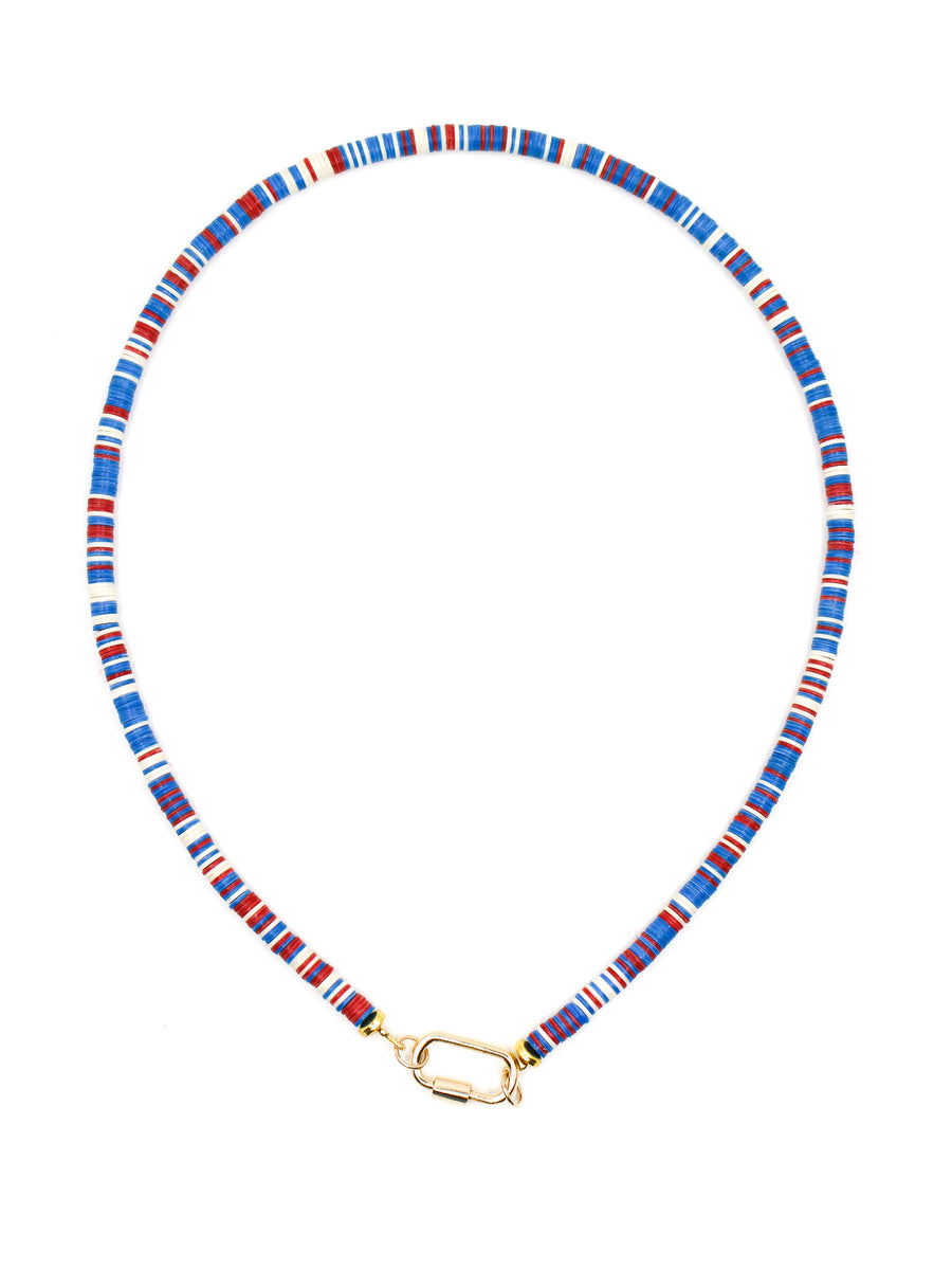 Red White & Blue Disk Clasp Necklace - 14kt Gold - Monisha Melwani Jewelry