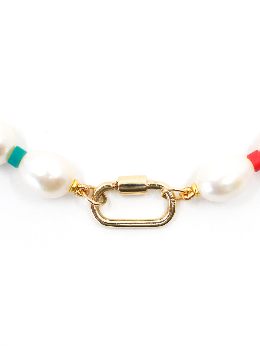 Multi-Colored Fresh Water Pearl Clasp Necklace - 14KT - Monisha Melwani Jewelry
