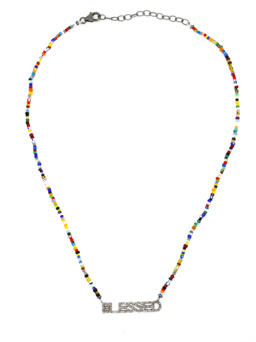 Sterling Silver African Beaded Blessed Necklace - Sterling Silver - Monisha Melwani Jewelry