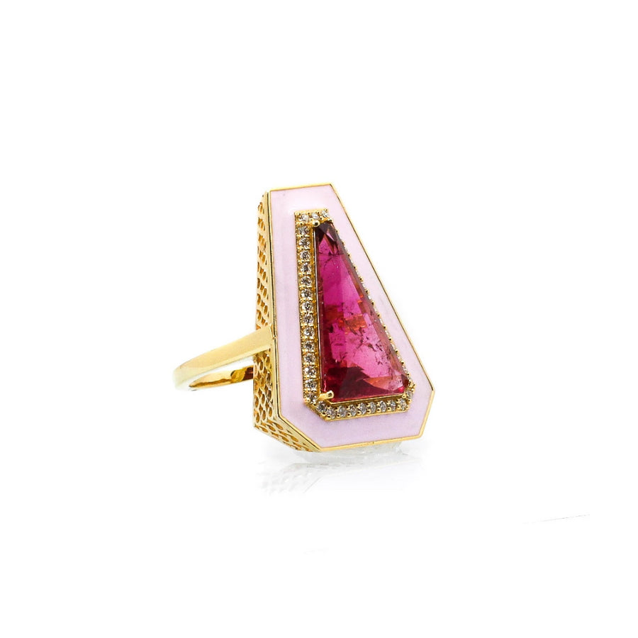 Enamel Diamond Pink Tourmaline Ring - 14KT Gold - Monisha Melwani Jewelry