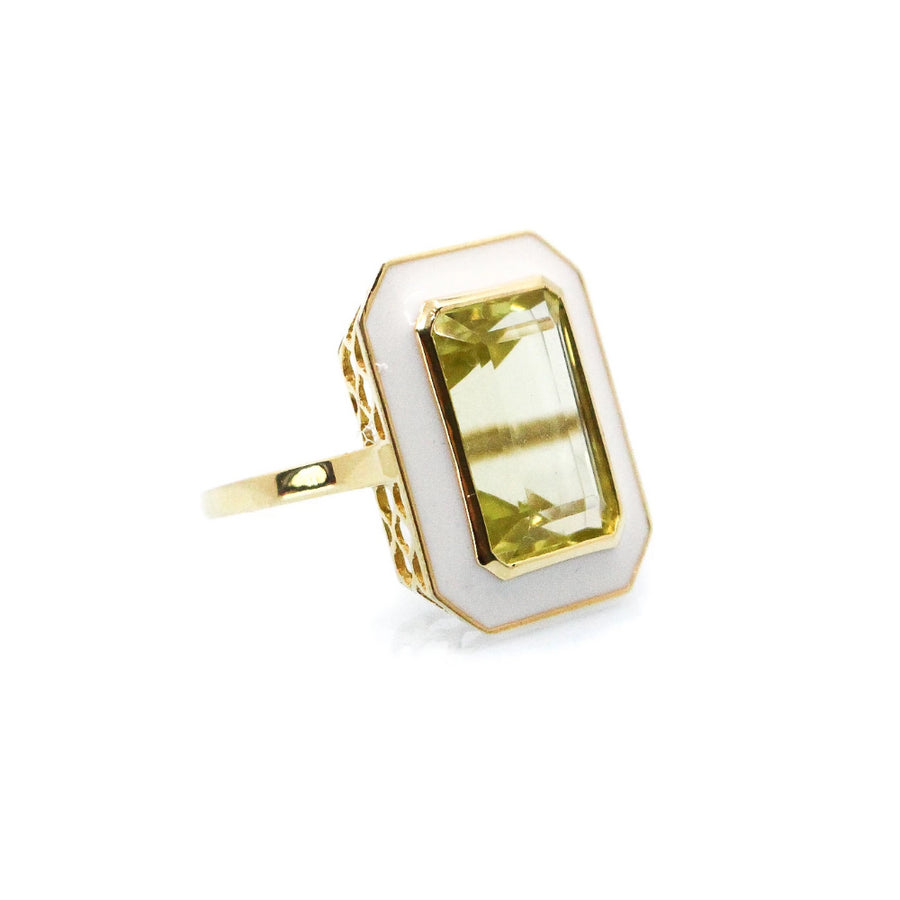 Enamel Lemon Topaz Ring -14KT Gold - Monisha Melwani Jewelry