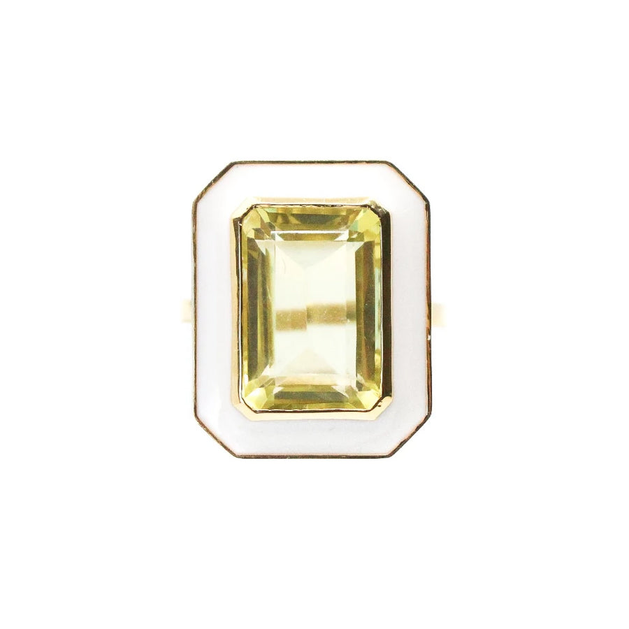 Enamel Lemon Topaz Ring