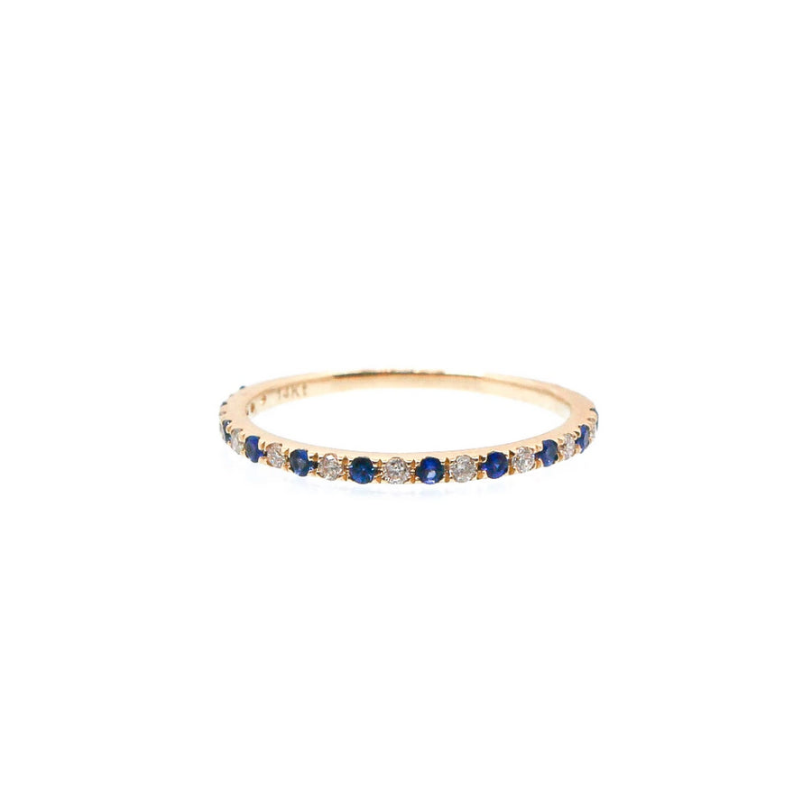 Diamond and Blue Sapphire Band Ring - 14KT Gold - Monisha Melwani Jewelry