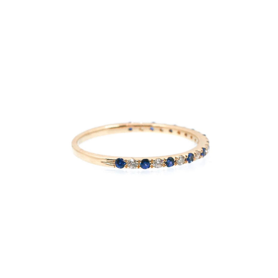 Diamond and Blue Sapphire Band Ring