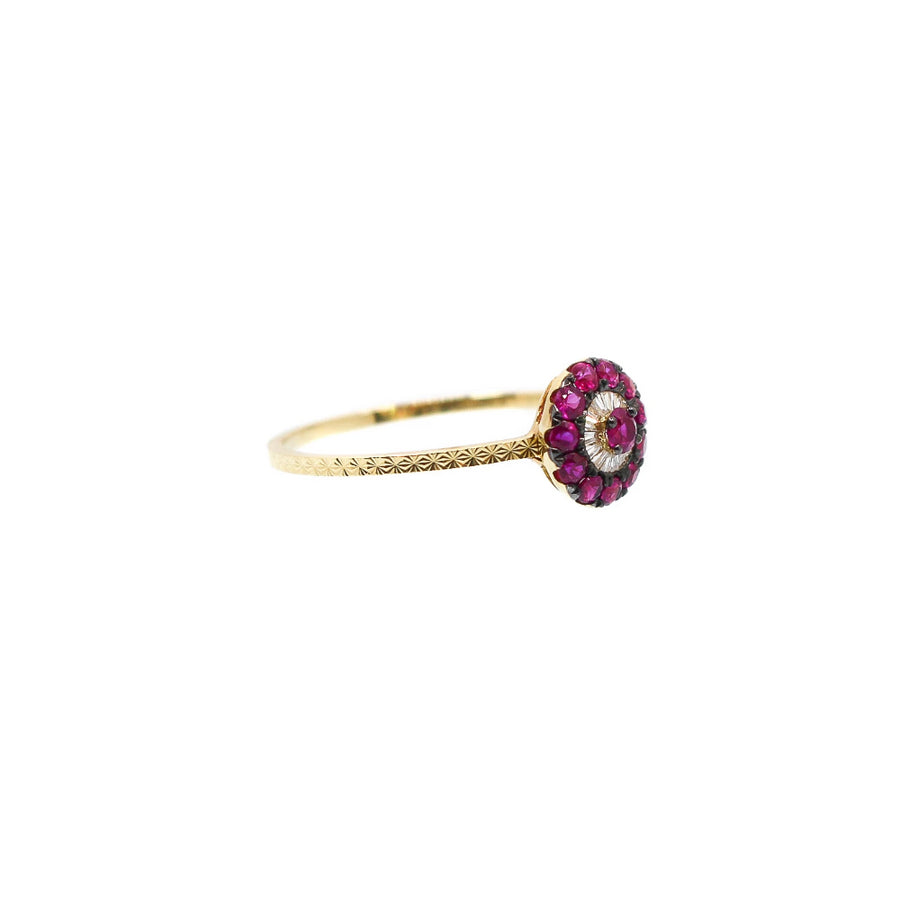 Diamond and Ruby Evil Eye Ring - 18KT Gold - Monisha Melwani Jewelry