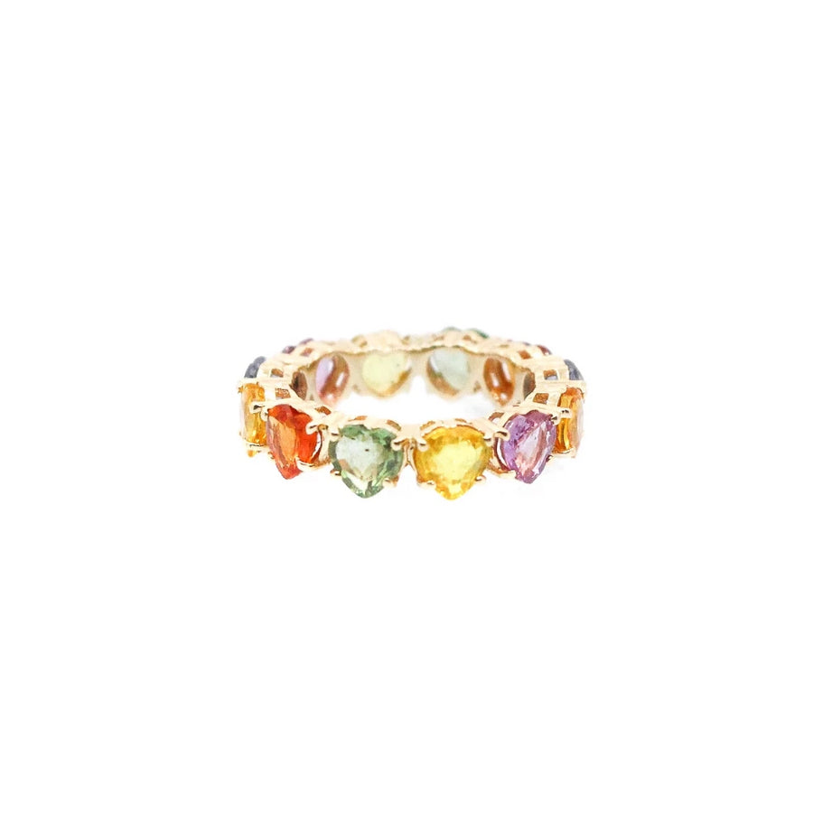 Multi Sapphire Heart Shaped Gold Band Ring - 14KT Gold - Monisha Melwani Jewelry