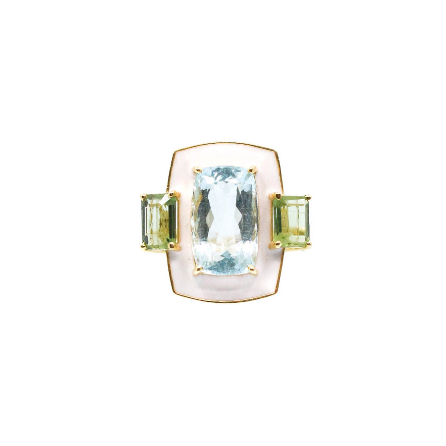 Enamel Aquamarine and Tourmaline Ring - 14KT Gold- Monisha Melwani Jewelry