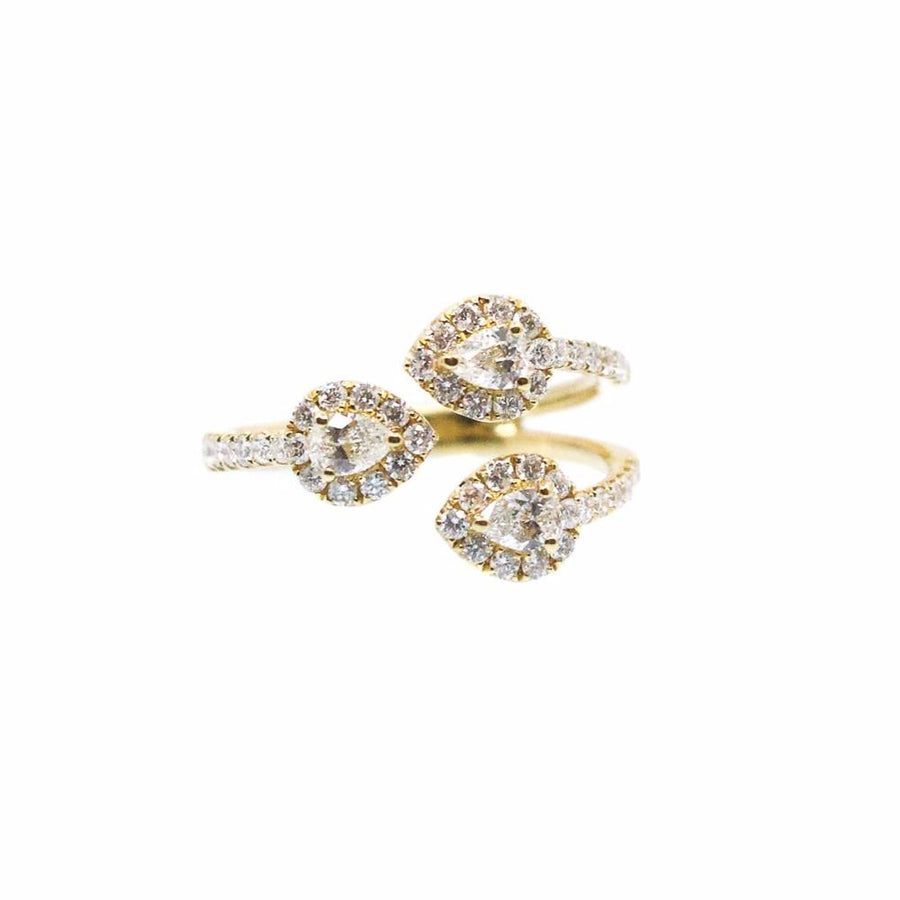 Triple Teardrop Diamond Ring - 18KT Gold - Monisha Melwani Jewelry