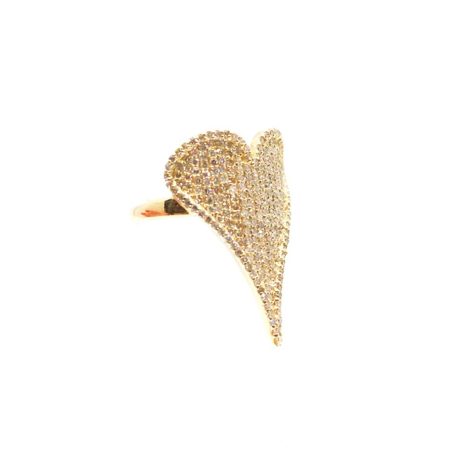 Gold Pave Diamond Heart Ring - 14KT Gold - Monisha Melwani Jewelry