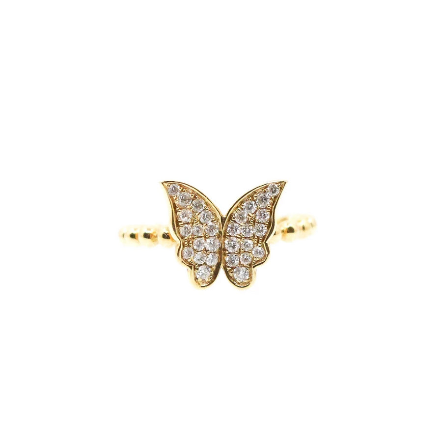 Diamond Gold Butterfly Ring