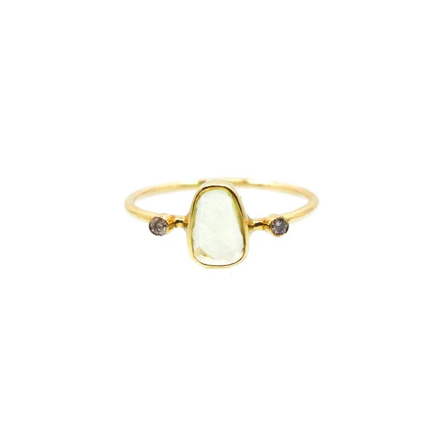 Gold Topaz Diamond Ring - 14KT Gold - Monisha Melwani Jewelry