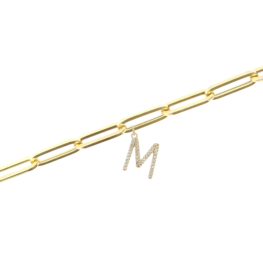 Gold Medium Link Diamond Initial Bracelet - 14KT Gold - Monisha Melwani Jewelry