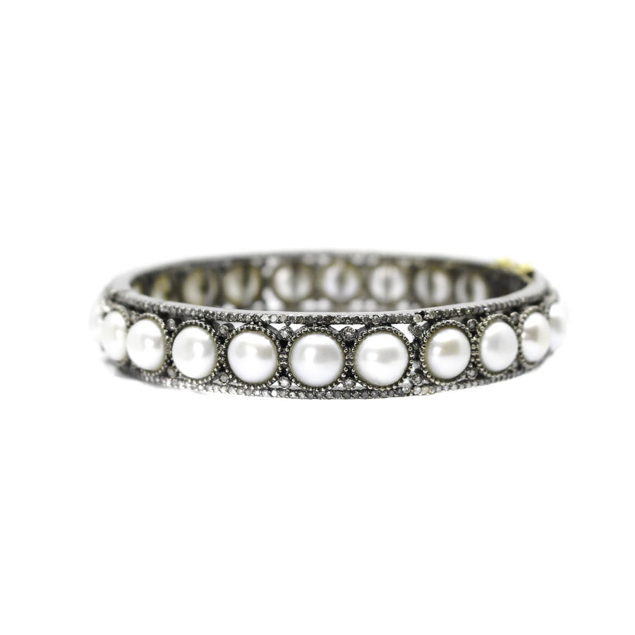 Sterling Silver Diamond Pearl Bangle - Sterling Silver - Monisha Melwani Jewelry