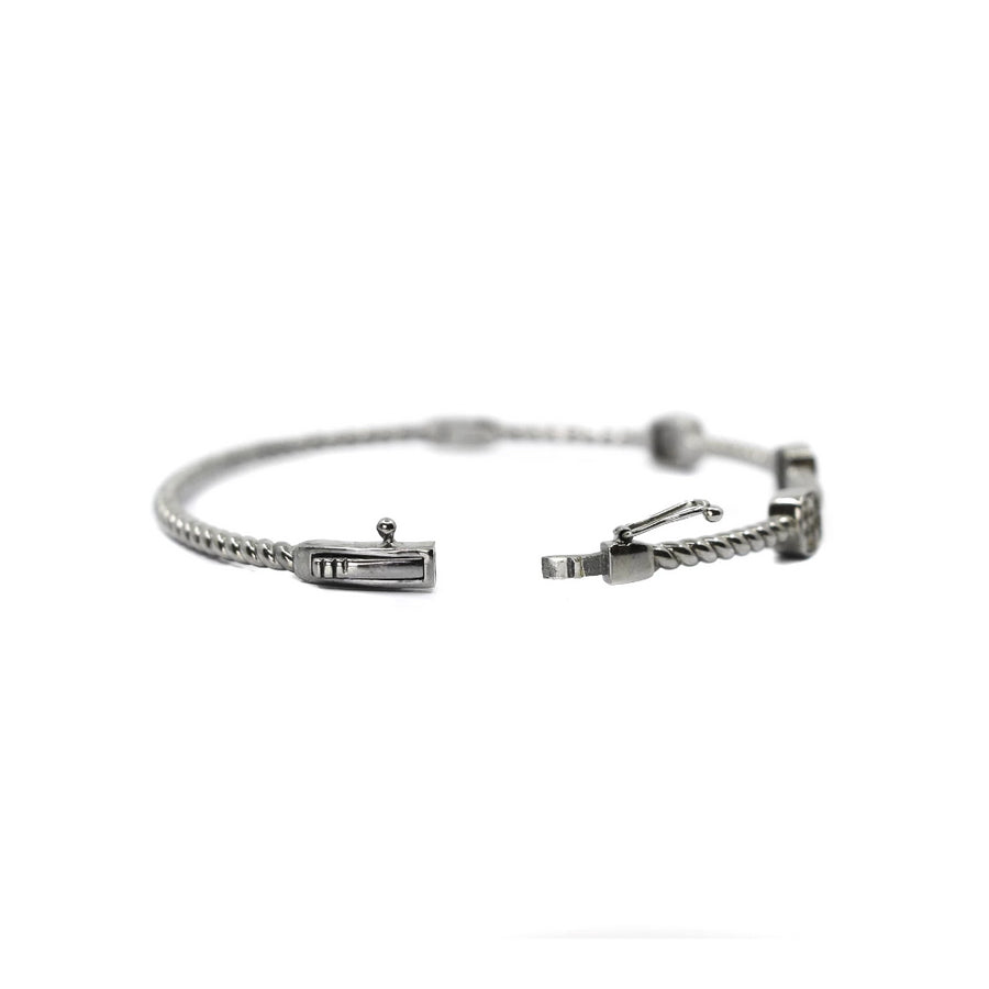 Sterling Silver Triple Square Diamond Bangle - Monisha Melwani Jewelry