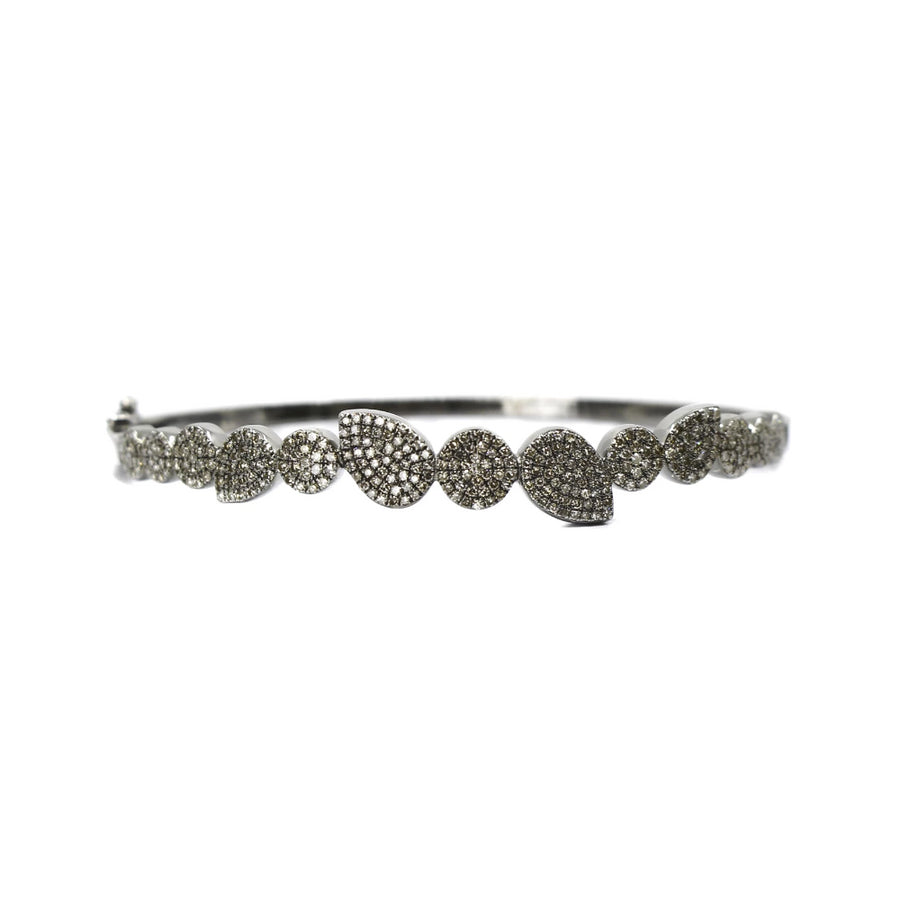 Sterling Silver Multi Shape Diamond Bangle - Monisha Melwani Jewelry