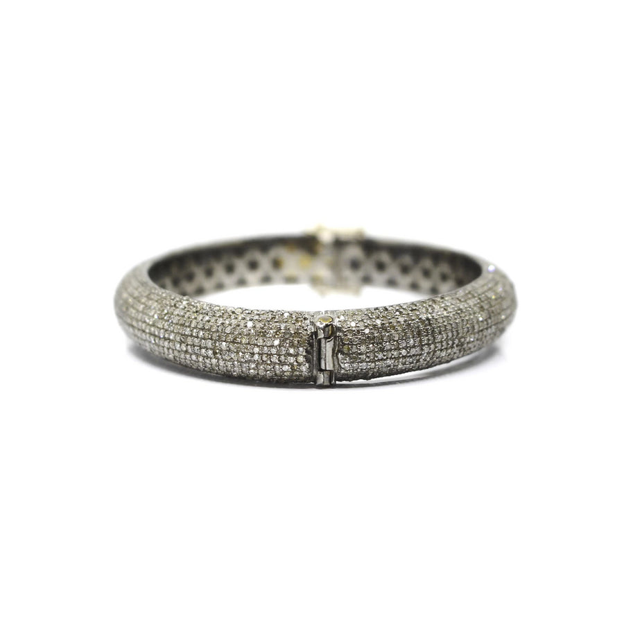 Sterling Silver Pave Diamond Bangle - Monisha Melwani Jewelry