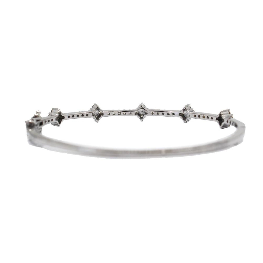 Pave Diamond Sterling Silver Bangle - Monisha Melwani Jewelry