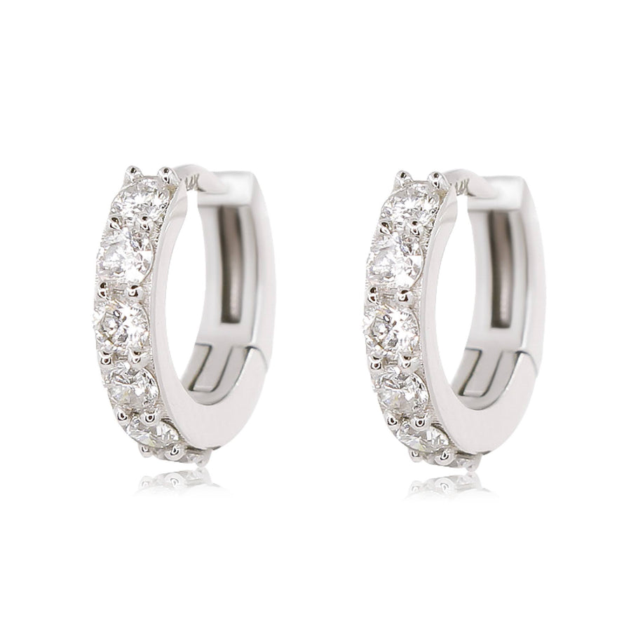 Diamond Geometric Hoop Earrings - 18KT Gold - Monisha Melwani Jewelry