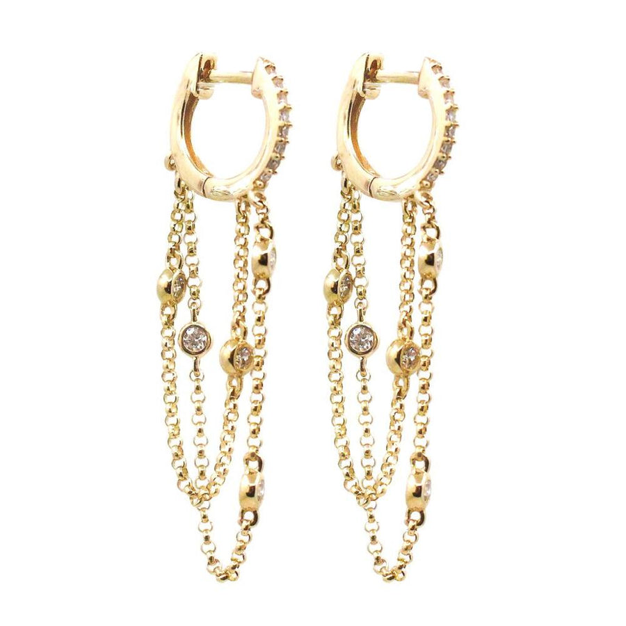 Diamond Gold Chain Hoop Earring - 14KT Gold - Monisha Melwani Jewelry