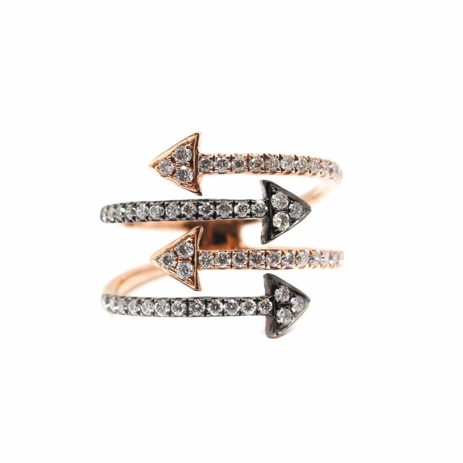 Diamond Two Tone Arrow Ring - 18KT Gold - Monisha Melwani Jewelry