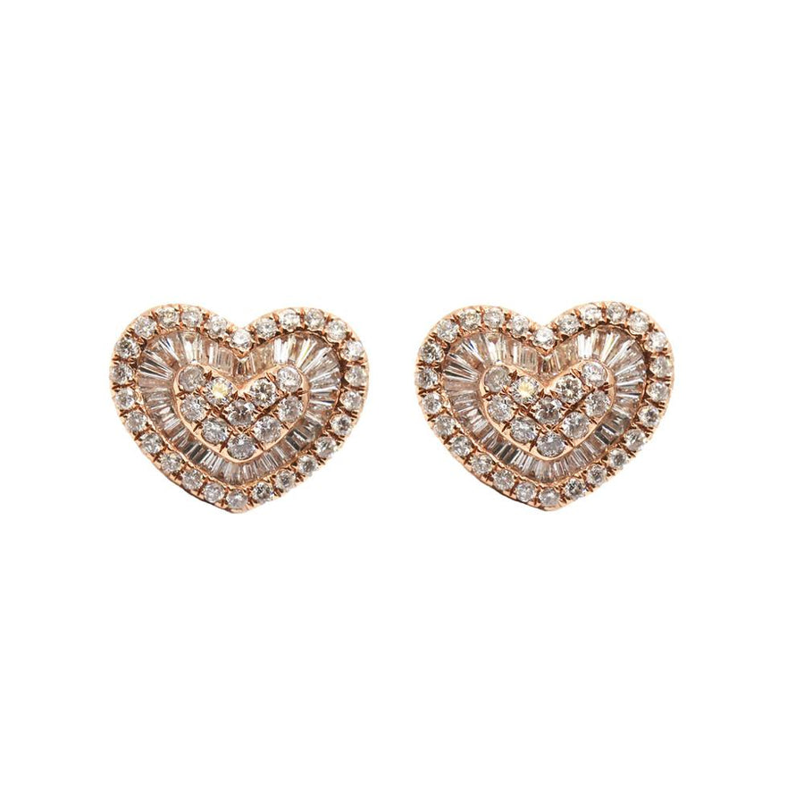 Diamond Baguette Heart Earrings - 18KT Gold - Monisha Melwani Jewelry